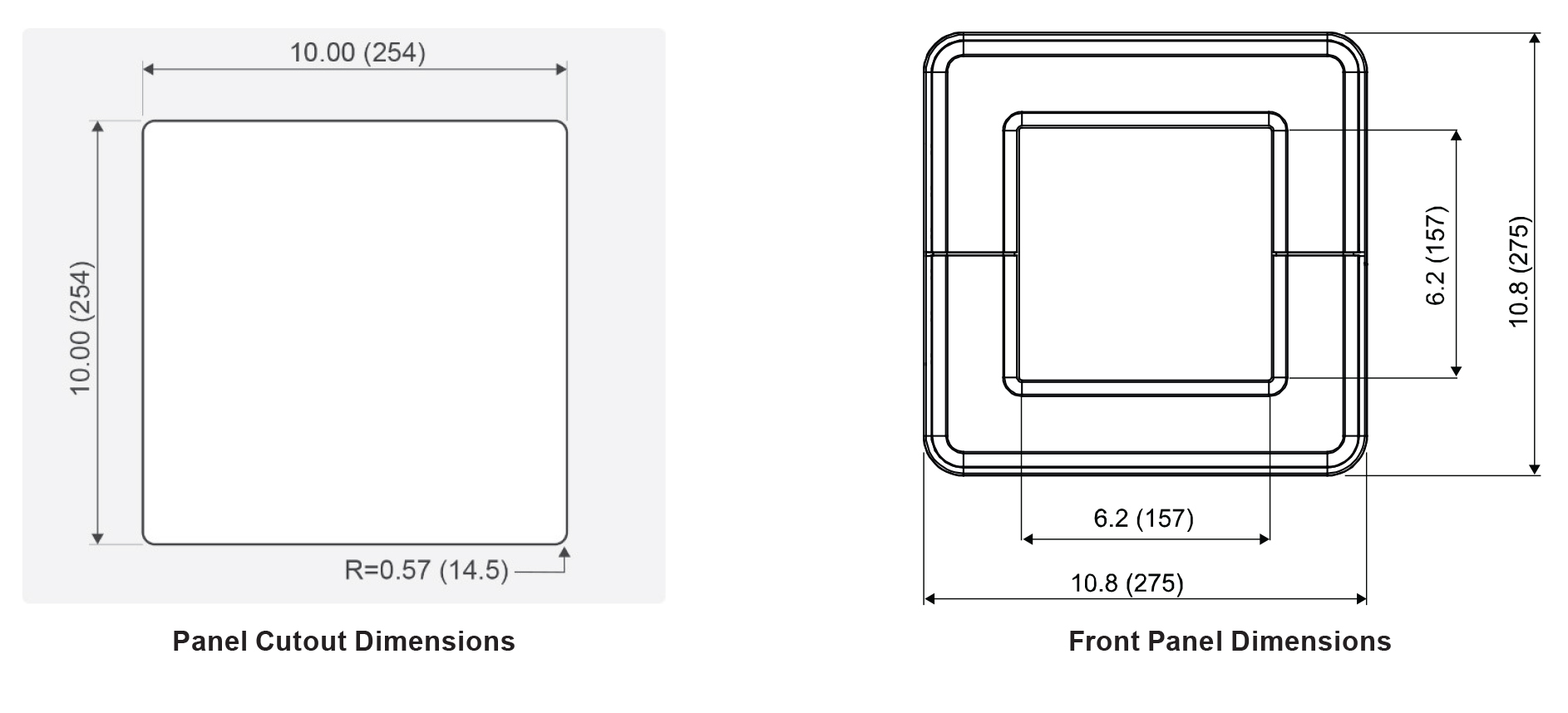 PD9000 Panel Cutout Dimensions and Front Panel Dimensions